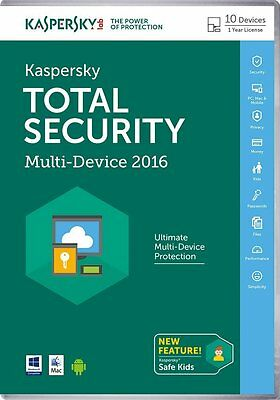 KASPERSKY TOTAL SECURITY 2016 10 PC DEVICE - MULTI DEVICE - New - Download
