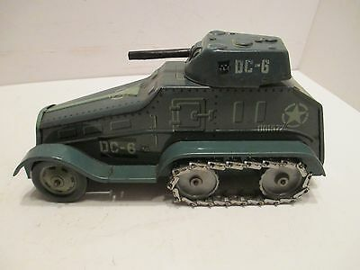Tipco Armored Car Half Track With Moving Gun Wind-Up Vg Condition Works Good