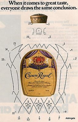 1983 Crown Royal Whisky Dot To Dot Bottle Great Taste Draws Same Conclusion ad