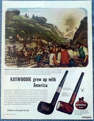 1946 Kaywoodie Briar Pipe First Transcontinental Railroad 1869 Illustration ad