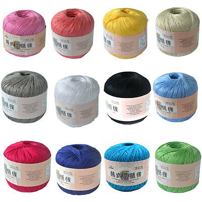 50g Ball Art Silk Thread Yarn Crochet Hand Knitting Lace Cotton Crochet Trim DIY