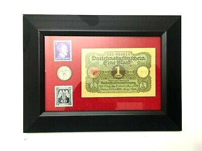 WW2 Rare German  1 Rp Coin with Stamps & 1 Mark Bill in Disp frame