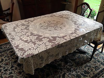 Antique Vintage Ornate Quaker Lace Large Tablecloth Heavy Dense Cotton