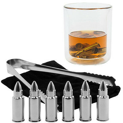 6x Bullet Stainless Steel Ice Cube Whiskey Whisky Stones Wine Chiller Cooler Box