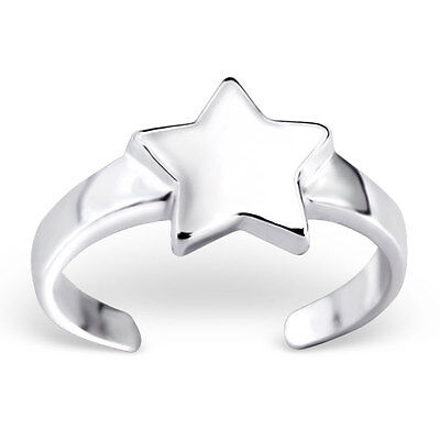 925 Sterling Silver Toe Ring Gorgeous Solid Star Adjustable Body Jewellery