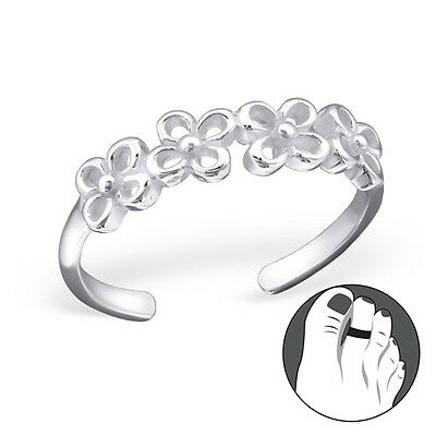 925 Sterling Silver Toe Ring Band of Flowers Adjustable Body Jewellery