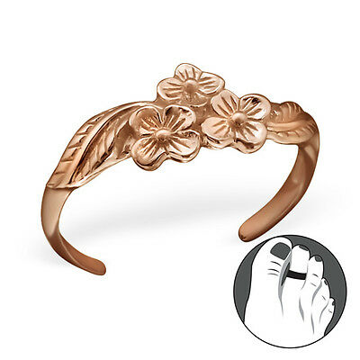 925 Sterling Silver Toe Ring Flower Bunch Adjustable Body Jewellery Rose Gold