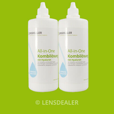 »» 2x 360 ML LENSDEALER KONTAKTLINSEN PFLEGEMITTEL «« KOMBILÖSUNG ALL IN ONE