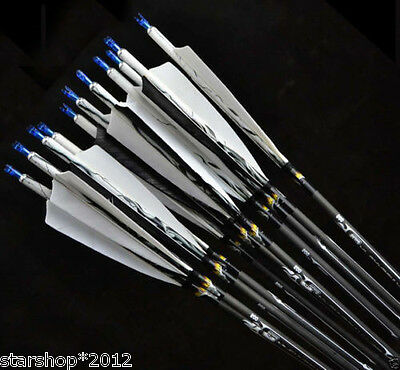 "6x31"" Archery Changeable Head Turkey Feathers Carbon Arrow 7.5mm Shaft Spine500"