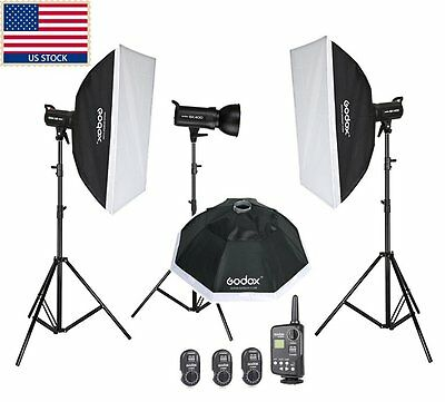 1200w Godox 3x SK400 Studio Strobe Flash Light Gird Softbox Kit F Photo Wedding