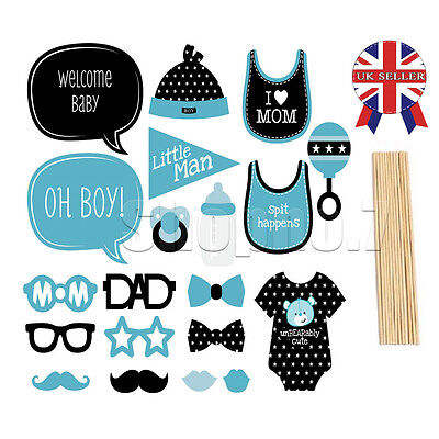 Baby Shower Photo Booth Props New Born Party Decorations Boy Little Man in Blue
