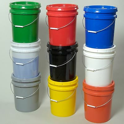 Lot of 6- 5 gallon HDPE Plastic Bucket/Pail with Lid- Multiple Colors Available