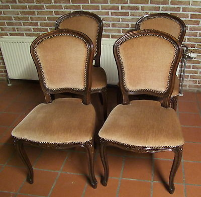 Louis XV Style French Carved Oak Set of 4 Dining Chairs  - (020123)
