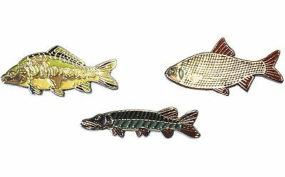 Mirror Carp, Roach & Pike Freshwater Game Fish Angling Pin Angler Enamel Badges