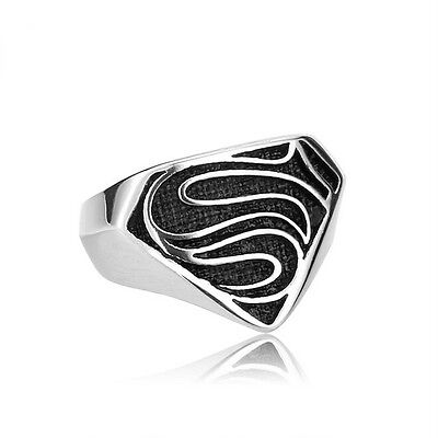 Men's Stainless Steel Fashion Gothic Punk Superman Biker Finger Rings Jewelry