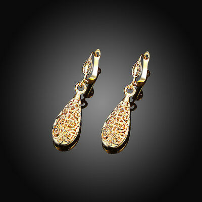 luxury 18k yellow gold plated earrings ear drop charm fashion jewelry gift
