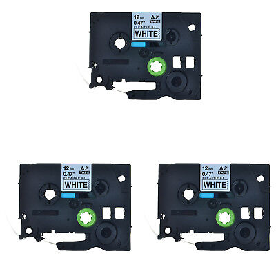 3PK Black on White Flexible Label Tape For Brother P-Touch TZ TZe-Fx231 12mm*8m