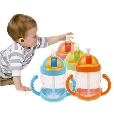 Practical Baby Bottle Feeding Kids Straw Cup Drinking Bottle Sippy Cup W/ Handle