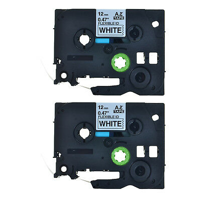 2PK Black on White Flexible Label Tape For Brother P-Touch TZ TZe-Fx231 12mm*8m