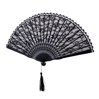 Lady's Lace Trim Bamboo Hand Hold Fan Dancing Party Wedding Decor Fan Black