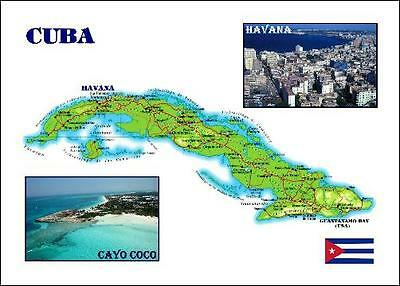 Cuba Country Map New Postcard