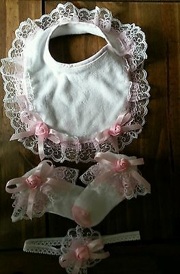 Girls Frilly Socks In Pink & White, Matching Hair Band & Bib  Sizes 3 -5 1/2
