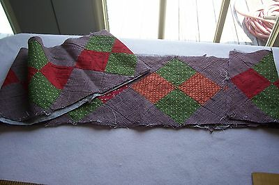 Vtg Antique 1800's 19th Civil war Century Quilt Cotton Fabric Block Strip