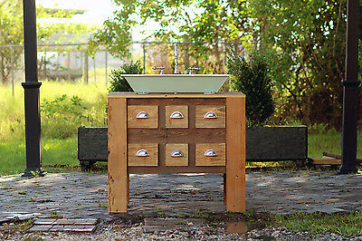 Reclaimed Wood Bath Vanity Cabinet Cast Iron Trough Sink Apothecary Chest