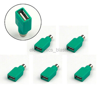 5pcs USB Female to Male PS2 PS/2 Connector Adapter Converter for Keyboard Mouse
