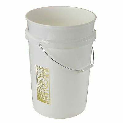 6 Gallon White Plastic Bucket/Pail with Cover- Lot of 4