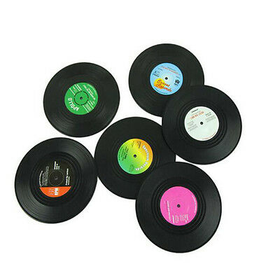 6PCS Vinyl Coaster Groovy Record Cup Drinks Holder Mat Tableware Placemat Hot