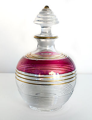 Vintage Glass Ruby Gold Flashed Decanter