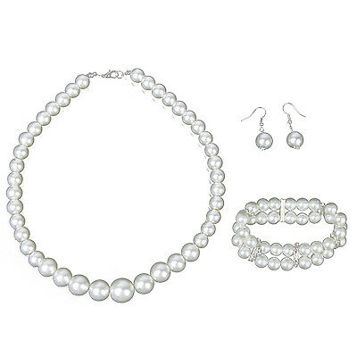 Bridal Wedding Party Faux Pearl Necklace + Earrings + 2-Row Bracelet Set DT