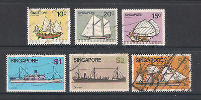 (UXSG030) SINGAPORE 1980 Ships 6 Stamps to $5 fine used