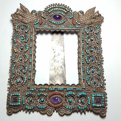 Ricardo Salas Matl of Taxco Mexico Sterling Silver Amethyst Picture Frame 2931