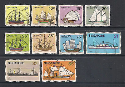 (UXSG032) SINGAPORE 1980 Ships 10 Stamps to $5 fine used
