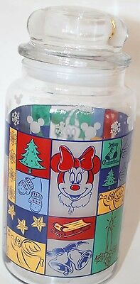 Vintage Mickey Mouse Glass Jar By Anchor Hocking Made In USA Christmas