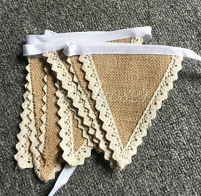 New Vintage Hessian Burlap Garland Festival Party Wedding Banner Flags Bunting