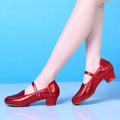 Female Casual Dance Shoes Modern Jazz Ballroom Buckle Pumps Round Toe Mary Janes