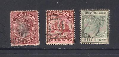 (UXWW023) TURKS & CAICOS ISLANDS 1893-95  3 used stamps