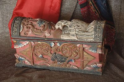 Old Borneo Dayak Carved Wooden Burial Box / Coffin