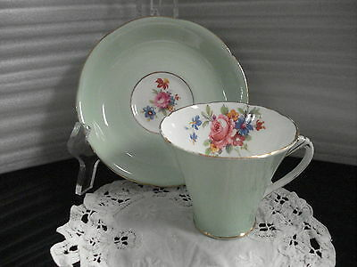TEA CUP & SAUCER A.B.J. Grafton GILDED LIGHT GREEN Made In England C4