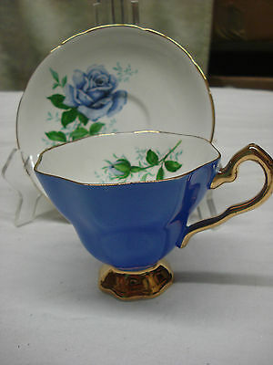 exquisite TEA CUP & SAUCER Royal Stafford ROYAL BLUE GILT Made In England TR5