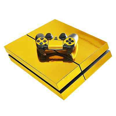 Gold Glossy Vinyl Decal Skin Sticker For Playstation 4 Console+Controllers