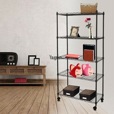 5 Tier Metal Shelf Rack Storage Wire Shelving Holder With Wheels