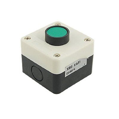 AC 240V 3A 1NO Green Momentary Flat Push Button Switch