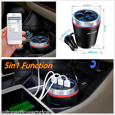 5in1 Function Bluetooth Handsfree Call  FM Transmitter Kit 3Port USB Car Charger