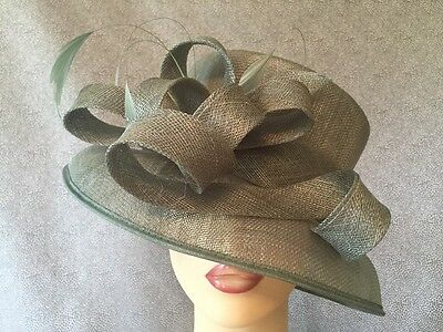 Ladies Formal Occasion Wedding Races Hat Sage Green Feathers Loops