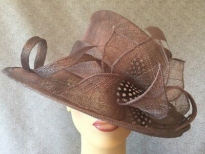 Ladies Formal Occasion Wedding Races Hat Taupe Brown Feathers By Maddox