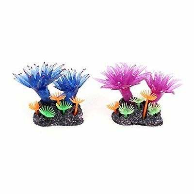 sourcingmap Fish Tank Manmade Aquatic Plant Coral Decor 2.4 Inch 2Pcs Purple Blu